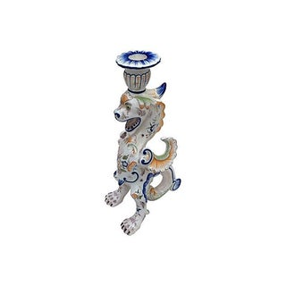 Italian Majolica Griffin Candleholder For Sale