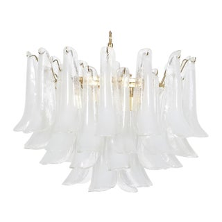 "Italian Murano ""Petal"" Chandelier by Mazzega For Sale"