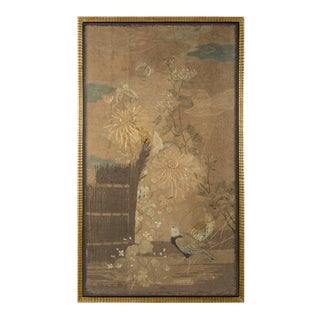 Framed Embroidered Silk Panel Depicting a Japanese Rural Scene For Sale