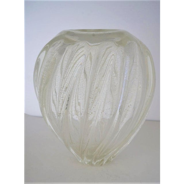 Murano Vintage Murano Glass Vase With Silver Flecks For Sale - Image 4 of 13
