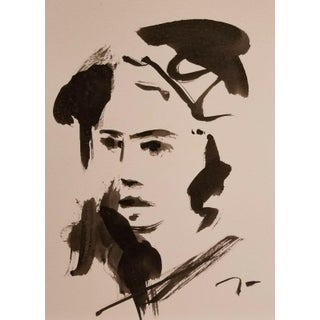 Contemporary Minimalist Figurative Black and White Ink Wash Painting by Jose Trujillo For Sale
