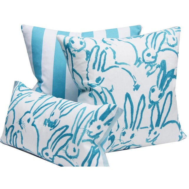 Contemporary Hutch Print Aqua Bunny Fabric Lumbar Pillow - 11x21 For Sale In Portland, OR - Image 6 of 7