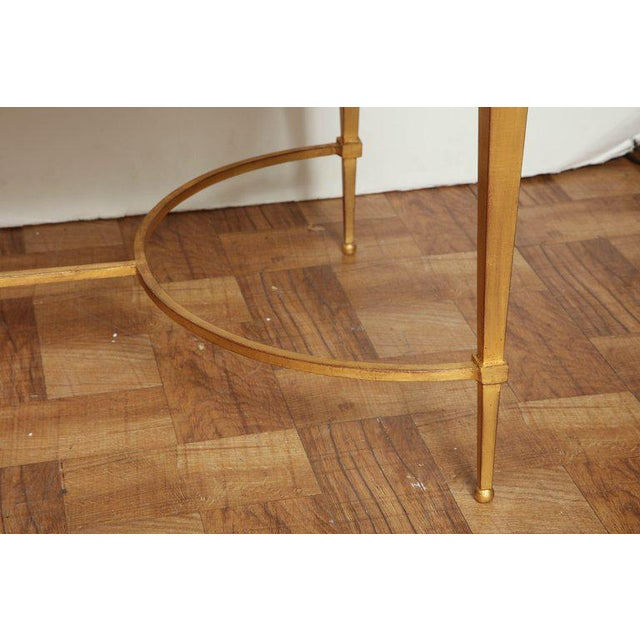 Maison Ramsay French Midcentury Gilt Iron Coffee Table With Travertine Top by Masion Ramsay For Sale - Image 4 of 6