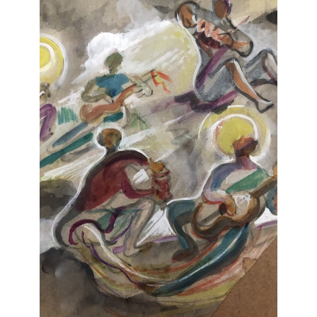 1940s Charles W. Palmer Gouache Musicians Painting, C. 1947 For Sale - Image 5 of 6