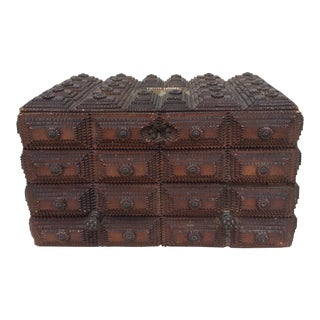 Antique French Tramp Art Box For Sale