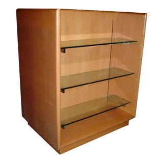 Wooden Double Display Case With Glass Shelves For Sale
