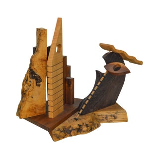 Gary Zayon Studio Crafted Mixed Wood Sculpture of Manhattan