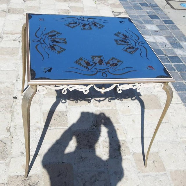 This wonderful table has the hallmarks of a Rene Drouet design, but is not yet documented. The svelte curved legs and...
