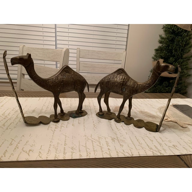 Vintage Mid-Century Egyptian-Style Solid Brass Camel Bookends- a Pair For Sale - Image 13 of 13
