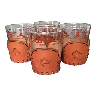 1950s Americana Libbey Glass Co. Westward Ho Collection Double Old Fashion Glasses - Set of 4