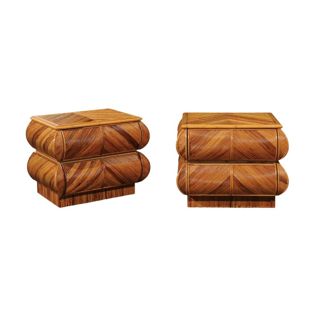 Magnificent Restored Pair of Bullnose Small Chests in Bamboo, Circa 1980 For Sale