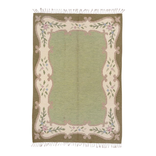 Scandinavian Flatweave Rollaken Rug, Open Green Field For Sale