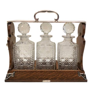 Antique English Oak and Crystal Tantalus, Circa 1880. For Sale