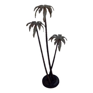 4' Cold Painted Bronze Palm Tree Sculpture