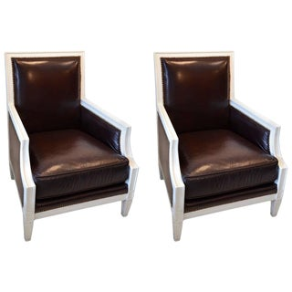 1930s Vintage Chocolate Leather Armchairs - A Pair For Sale