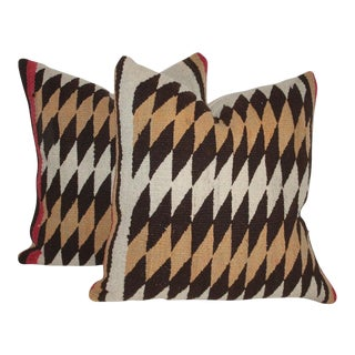 Navajo Indian Geometric Weaving Pillows, Pair For Sale