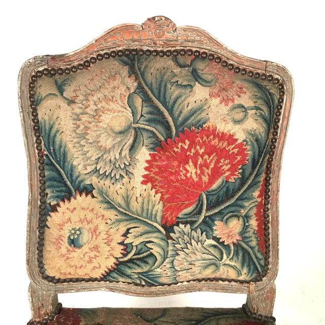 Linen French Louis XV Chairs with Period Floral Needlework Upholstery- Set of 4 For Sale - Image 7 of 11