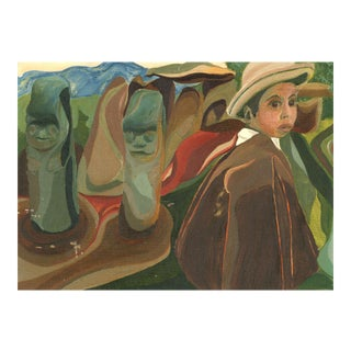 Vintage Latin American Painting of Boy With Statues For Sale