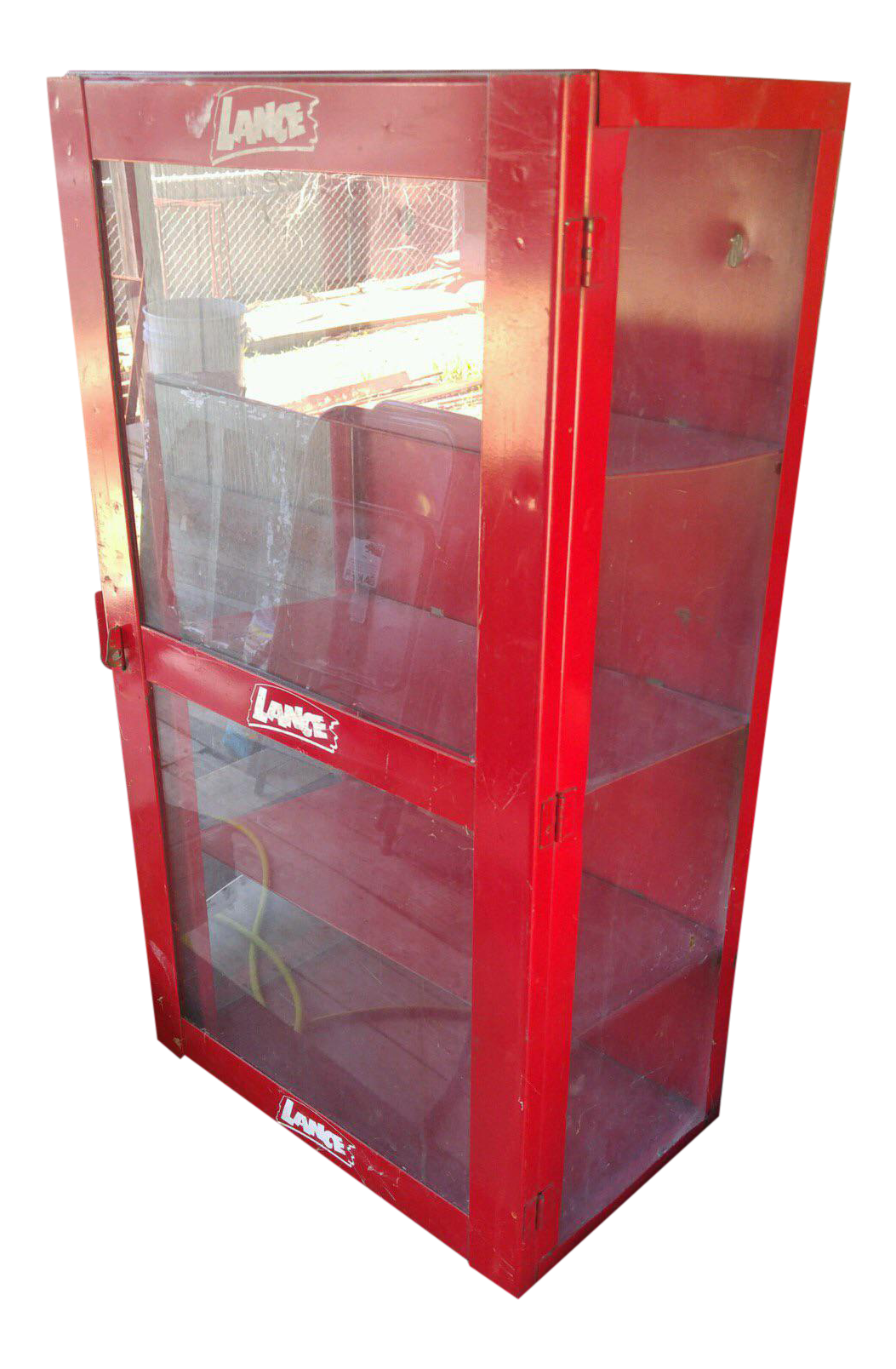 Red Metal Vintage Lance Display Cabinet