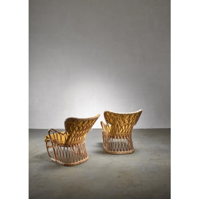 Tove & Edvard Kindt-Larsen Tove & Edvard Kindt-Larsen Pair of Bamboo Chairs, 1940s For Sale - Image 4 of 5