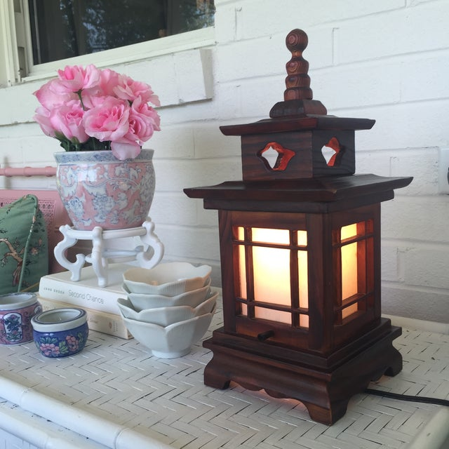 Antique Carved Wood Asian Chinoiserie Pagoda Lantern Light Lamp For Sale In Charlotte - Image 6 of 11