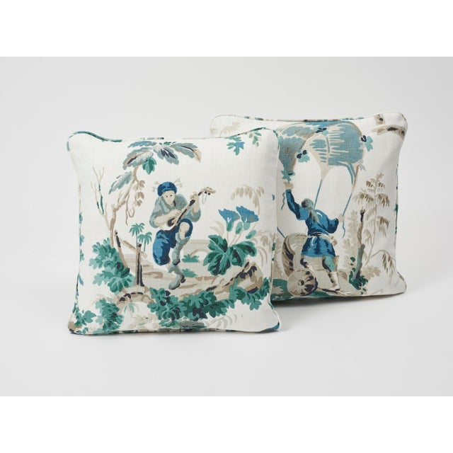 Schumacher Plaisirs De La Chine Linen Print Double-Sided Pillow For Sale In New York - Image 6 of 9