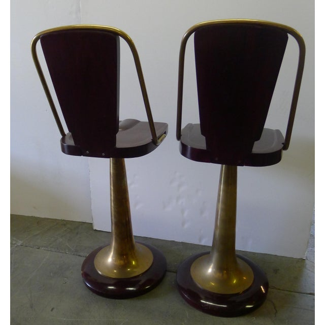 Art Deco Swivel Yacht Style Bar Stools - a Pair For Sale - Image 3 of 11