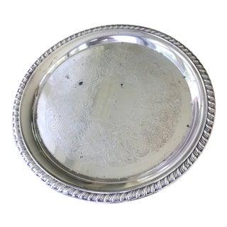 Vintage Round Engraved Leonard Silver Plate For Sale