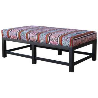 Custom Ottoman Upholstered in Vintage Rug For Sale