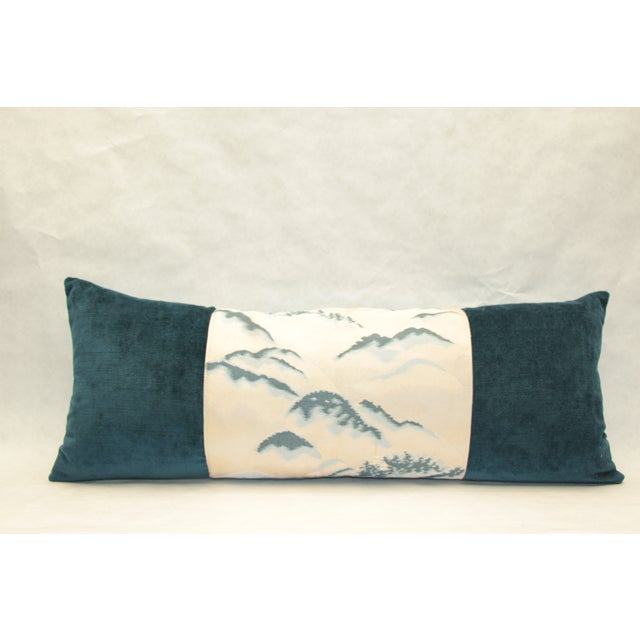 Pillow made from vintage obi bordered by silk and cotton velvet. The back is fashioned from matching blue Vietnamese silk...
