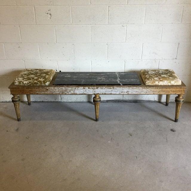 Hollywood Regency Wood Marble Upholstered Bench For Sale - Image 13 of 13