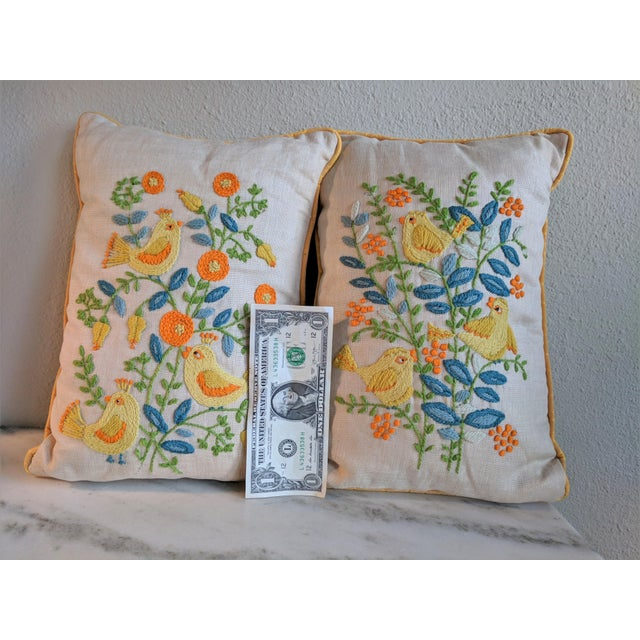 Textile Vintage Embroidered Crewel Bird Throw Pillows - A Pair For Sale - Image 7 of 10