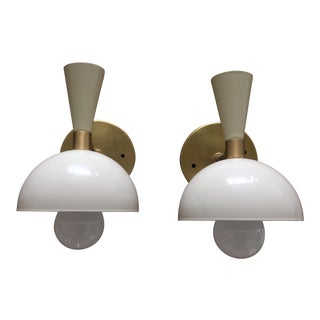 Sabin Cream and Brass Cozu Wall Sonces - a Pair For Sale