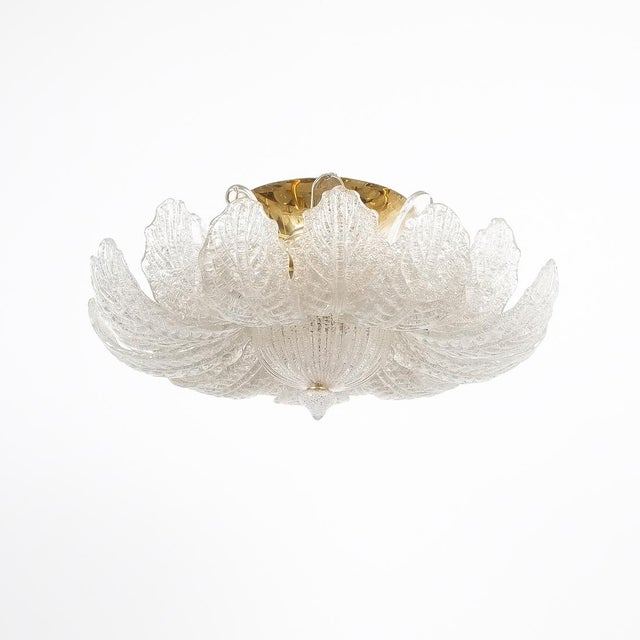 Great Barovier Toso Flush Mount or Chandelier Glass Brass, Italy Mid Century For Sale - Image 13 of 13