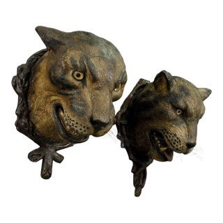 A Gorgeous Pair Of Leopard Heads, Austria Ca. 1890 For Sale