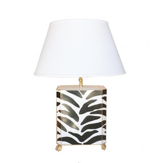 Dana Gibson Tole Painted Zebra Table Lamp For Sale