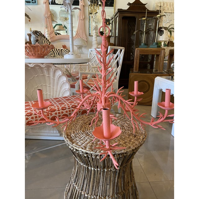 1980s Vintage Palm Beach Metal Coral 5-Light Chandelier For Sale - Image 5 of 12