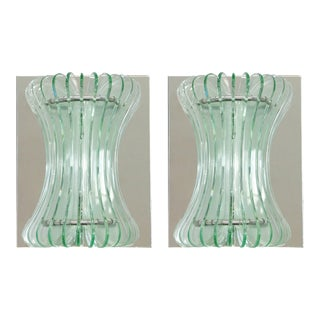 Beveled Glass Sconces by Cristal Arte - a Pair For Sale