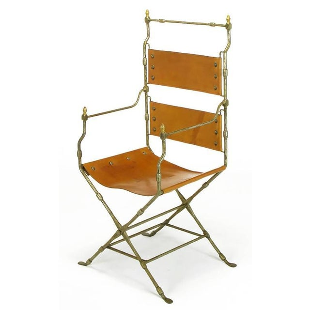 1960s Four Custom Leather and Hand-Forged Iron X-Base Sling Chairs For Sale - Image 5 of 10