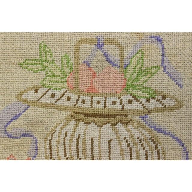 "Traditional Vintage Beige & Pastel Blue Needlepoint Floor Mat -- 1'10"" x 1'10"" For Sale - Image 3 of 5"