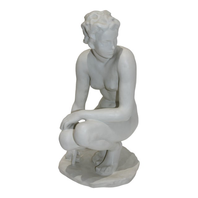 """Die Hockende"" Sculpture Signed by Fritz Klimsch as Produced by Rosenthal in the Largest Size For Sale"