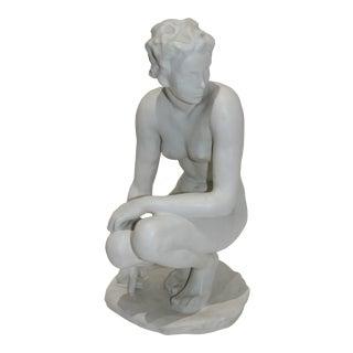 """Vintage Rosenthal Sculpture """"Die Hockende"""" Fritz Klimsch Large Size Model For Sale"""