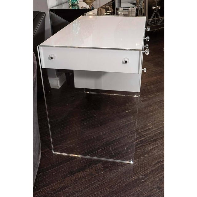 White High Gloss Lacquer Desk with Lucite Side Panels For Sale - Image 4 of 7