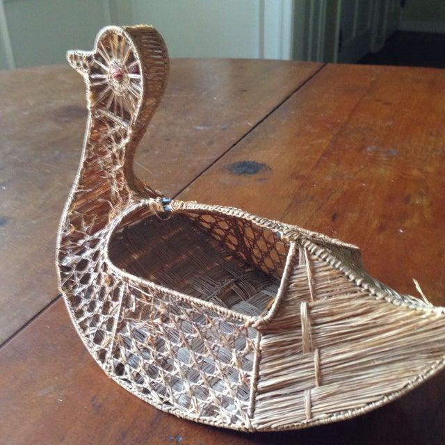 Vintage Italian Straw/Wicker Duck Basket - Image 4 of 11