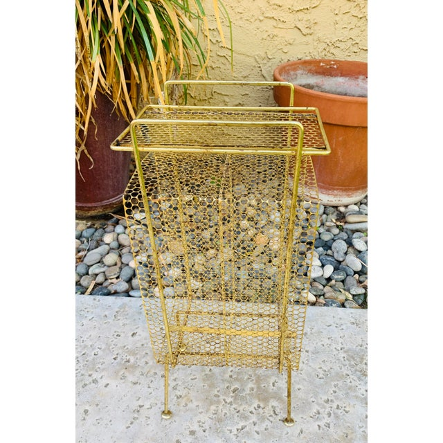 Mid-Century Modern Atomic Modern Mid Century Modern Brass Phone Stand 1950s Googie Gold Retro Telephone Table Duchin Galef Style For Sale - Image 3 of 9