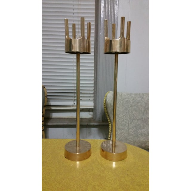Mid-Century Modern Brass Candlestick Holders - A Pair - Image 2 of 7