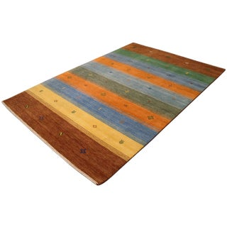 Hand-Knotted Indian Gabbeh Area Rug - 5′4″ × 7′8″ For Sale