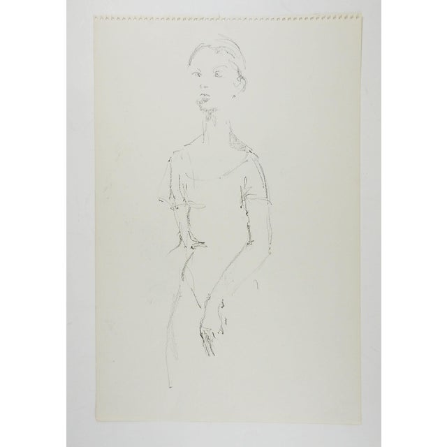 Pencil drawing on paper of female dancer study by Marilyn Lanfear (1930-2020) Texas. Unsigned. Unframed, directly from the...
