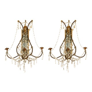 Pair of Continental Giltwood Wrought Iron Mirror Back Sconces For Sale