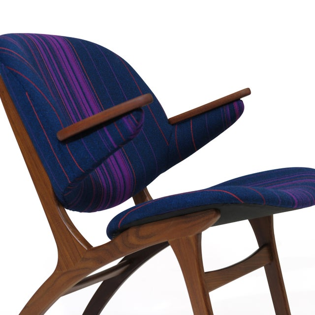 Blue Carl Edward Matthes Danish Teak Lounge Chairs - a Pair For Sale - Image 8 of 10